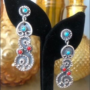 Turquoise / Coral earrings
